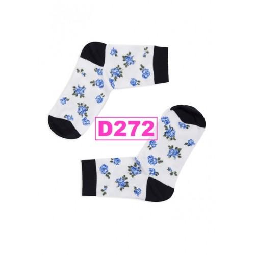 Sosete colorate scurte femei din bumbac floricele albastre pe alb Levante D272