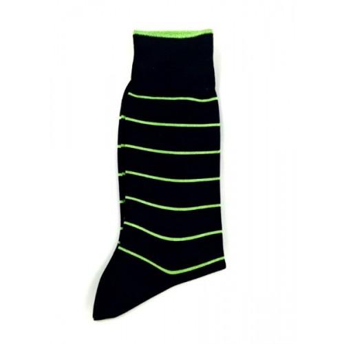 Ciorapi fashion barbati RIGHT LEFT model rafinat dungi inguste verde-kiwi pe fond negru ART 3413-3