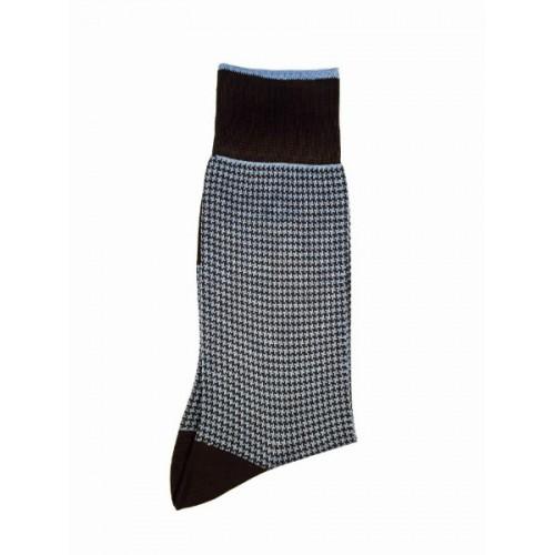 """ART 3503-4 Ciorapi fashion barbati RIGHT LEFT model """"sare si piper """" bleu pe fond maro"""