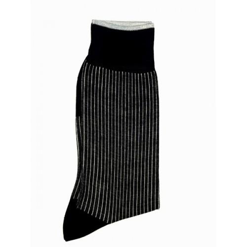ART 3619-3 Ciorapi fashion barbati RIGHT LEFT model elegant dungi fine verticale pe fond negru