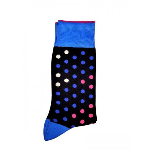 ART 3621-1 Ciorapi fashion barbati RIGHT LEFT model buline medii albastru-bleu-mov pe fond negru