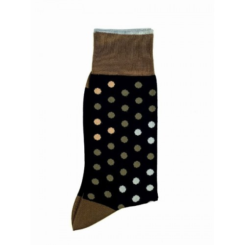 ART 3621-4 Ciorapi fashion barbati RIGHT LEFT model buline medii maro-cafeniu-bej pe fond negru