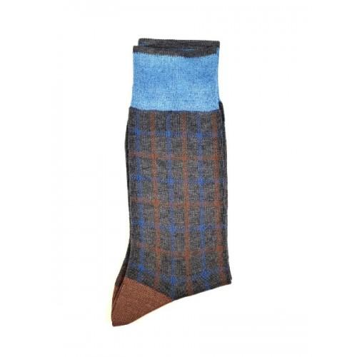 ART 3622-2 Ciorapi fashion barbati RIGHT LEFT model caroiaj suprapus albastru si caramiziu pe fond gri melange