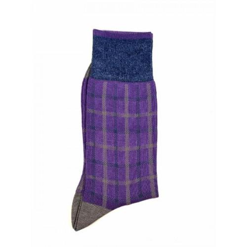 ART 3622-3 Ciorapi fashion barbati RIGHT LEFT model caroiaj suprapus gri si bleu pe fond mov