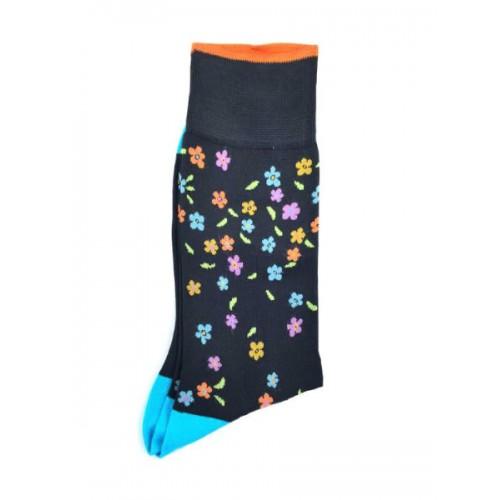 ART 3614-1 Ciorapi fashion barbati RIGHT LEFT model floral turcoaz